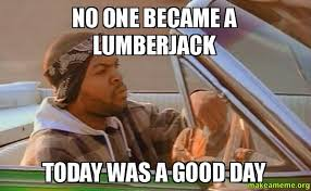 Lumberjack Meme - no one became a lumberjack today was a good day how i feel about