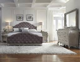 Furniture Grey Leather Tufted Kingsize Bed With Large Dresser - King size bedroom sets with padded headboard