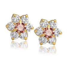 gold ear studs kids color safety screwback cz flower studs 14k gold