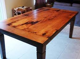 rustic maple harvest table with stain and matte epoxy finish