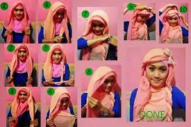 tutorial jilbab dua jilbab cara memakai jilbab paris kombinasi dua warna