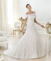 a line off the shoulder short sleeve beaded lace wedding dress