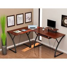 curved black polished metal based computer desk with screen stand