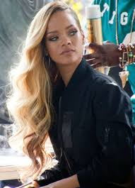 custom rihanna side part dark roots light blonde wavy brazilian