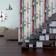 muriva plank stripe wallpaper red blue white 601546