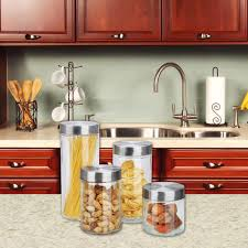 home basics 4 piece glass canister set cs10239 the home depot