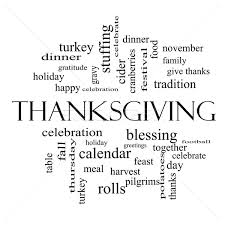 thanksgiving word cloud concept in black and white stock photo