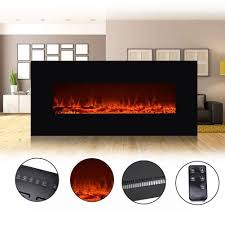 50 u2033 wall mount electric fireplace heater led flame remote heat