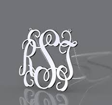 3 initial monogram necklace sterling silver rsj monogram necklace jewelry 925 sterling silver 3 initial