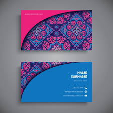 Purple Business Cards Business Card Decorated With Blue Purple And Pink Mandalas Vector