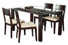 rectangular clear glass top modern 5pc dining set w wood base