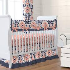 Crib Bed Skirt Measurements Navy And Coral Ikat Crib Skirt Gathered Carousel Designs