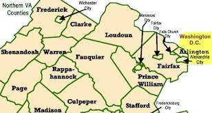 map of virginia counties cities in northern va fairfax arlington