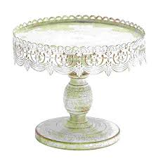 white cake stands shop woodland imports 10 in x 10 in white metal serving