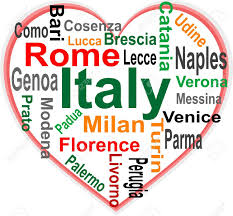 Map Italy Cities by Italy Heart And Words Cloud With Larger Cities Royalty Free