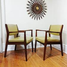 pair of jens risom walnut lounge chairs u2014 the furniture dolly