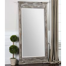 Home Interiors Mirrors Furniture White Frame Leaner Mirror With Dresser And Cream Wall