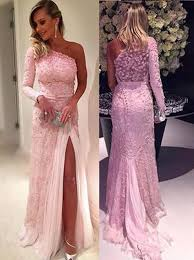 buy stylish one shoulder long sleeve sweep train pink lace prom