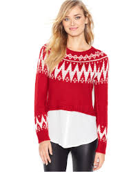 sweaters macys lyst kensie sleeve layered look fair isle sweater only at