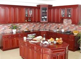 Exotic Wood Kitchen Cabinets Wonderful And Cool Red Kitchen Cabinet Eas With Modern Design Wall