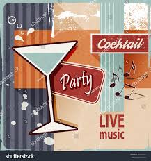 vintage cocktail party retro cocktail party vintage poster art stock vector 254030593