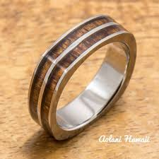 wood inlay titanium square ring with hawaiian koa wood inlay 6mm width flat