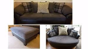 DFS Reuben  Seater SofaCuddler SofaLarge Footstool Fabric - Sofa and footstool