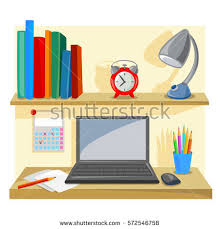 Office Desk Tidy Desktop Tidy Place Office Work Vector Stock Vector 572546758