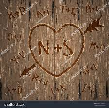 initials carved in tree happy valentines day card carved heart stock vector 711944428