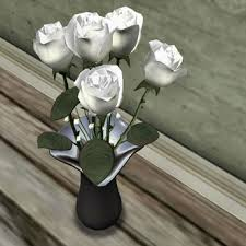 silver roses second marketplace white roses in silver fluted vase