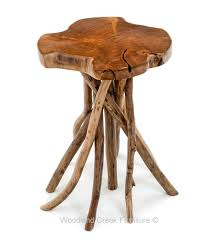 Accent End Table Slab Side Table Branch End Table Rustic Natural
