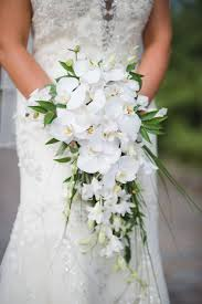 orchid bouquet bridal wedding portait with white orchid cascading wedding bouquet
