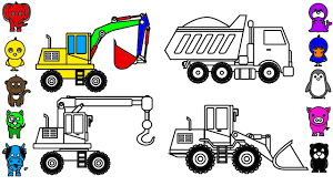 learn colors for kids with construction truck coloring pages car