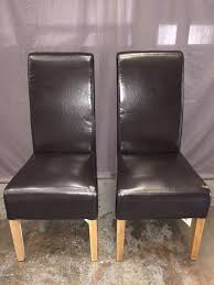 2x scroll back brown leather u0026 oak legs dining room chairs