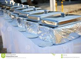 how to set a buffet table with chafing dishes banquet table with chafing dishes stock image image of chafing