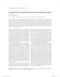 cognitive behavioral therapies for personality disorders pdf