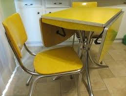 Yellow Kitchen Table And Chairs - vintage drop leaf yellow formica chrome dining table with 2