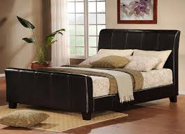 Black Leather Sleigh Bed Furniture Baxton Studio Celia Faux Leather Platform Bed