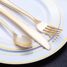 white gold rim plastic dinnerware value set smarty had a party
