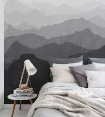 mountain mural wall art wallpaper black and white peel and stick