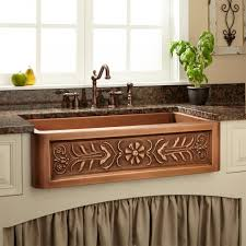 kitchen accessories apron copper kitchen sink with flower pattern