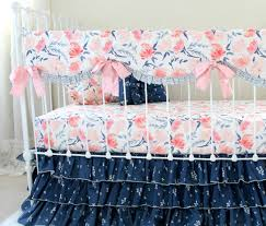 Pink Floral Crib Bedding Pink And Navy Watercolor Floral Baby Bedding Watercolor