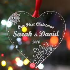 personalised my first christmas wooden acrylic tree decoration