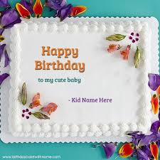 write name on happy birthday to my cute baby cake pics