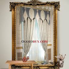 Valance Curtains For Living Room Cotton Poly Blend Jacquard Striped Room Darkening Curtain For