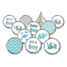 gray and teal blue elephant baby shower boy stickers set of 324
