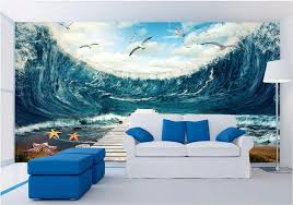 d oration chambre peinture 3d chambre papier peint personnalisé mural mer vagues la mouette