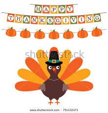 thanksgiving vector card turkey blank space stock vector 727432834