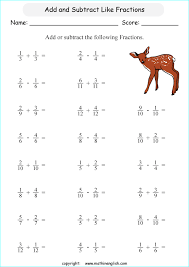 add and subtract these basic like fractions math fraction