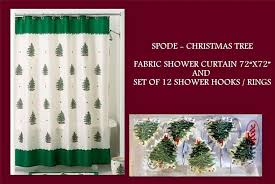 spode tree green fabric shower curtain hooks